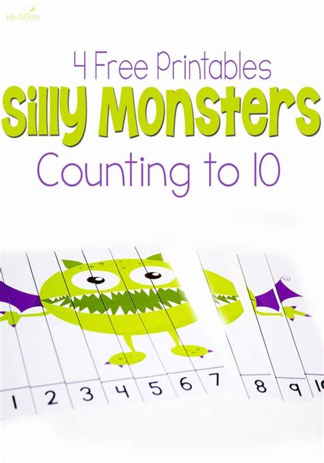 printable counting games 4 free silly monster printables for counting to 10