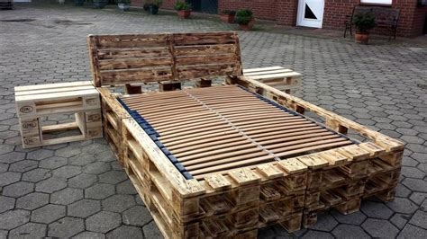 Bed Frame Out Of Pallets Diy Pallet Bed Frame With Nightstands Pallet Furniture