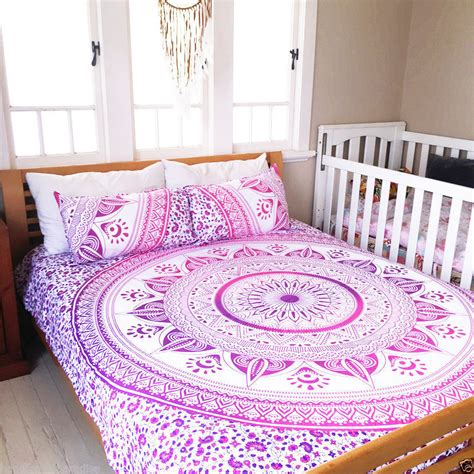 fuchsia bedding white pink purple long leafs boho bedding mandala duvet
