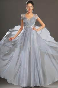 Bridal And Formal V Neck Lace Chiffon Cap Sleeve Evening Gown