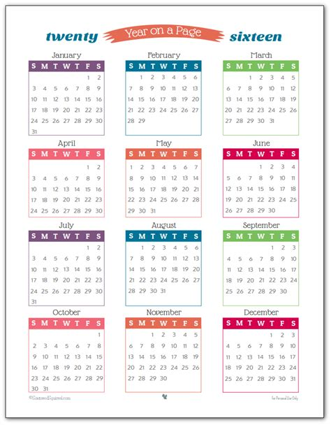 year long calendar on one page calendar template