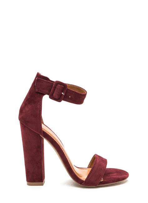 Heels Pesta Maroon Black Suede perfection chunky faux suede heels black burgundy taupe mauve gojane