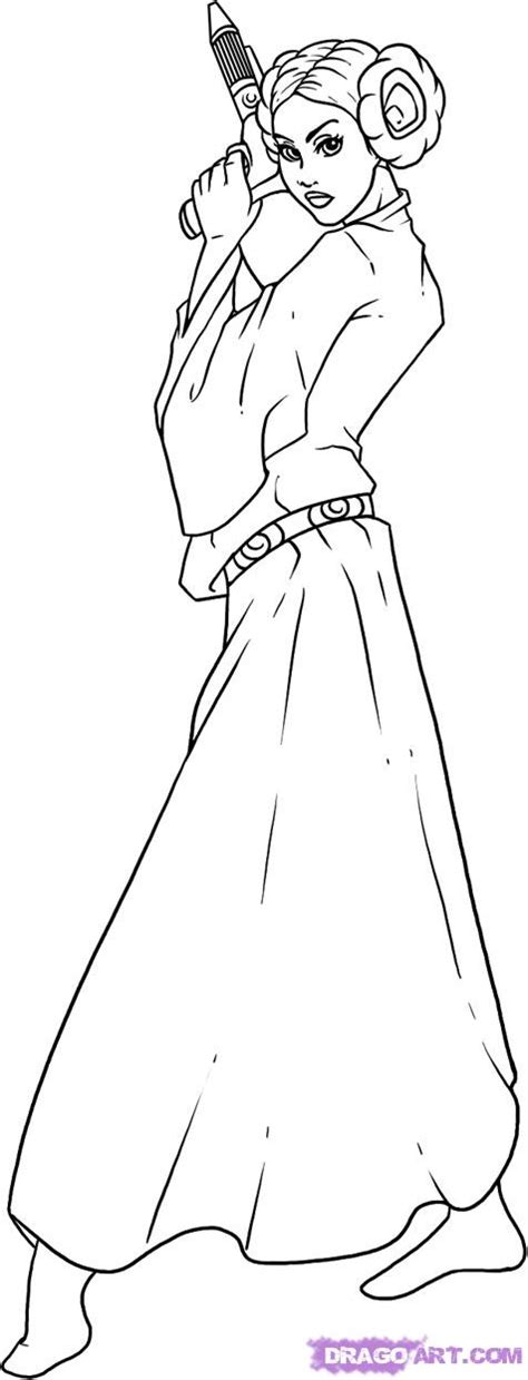 coloring pages princess leia how to draw princess leia step by step wars