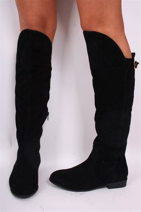 black suede the knee flat boots shoes from