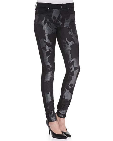 floral pattern skinny jeans 7 for all mankind floral pattern metallic skinny jeans