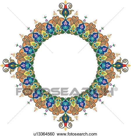 clipart of blue green purple and yellow arabesque
