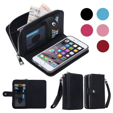 Pouch Clutch Purse For Iphone 7plus Samsunggalaxyc9 Wallet for iphone 7 6 plus detachable leather wallet
