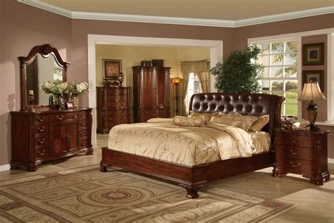 tufted leather headboard bed traditional king  queen wood bedroom set  brown finish