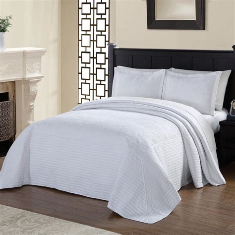 White Quilted Bedspread American Traditions Tile Quilted White King