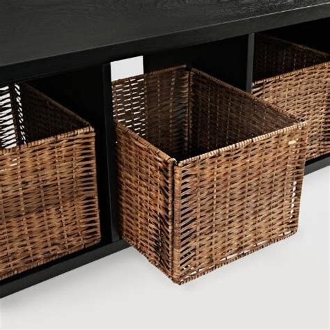 black storage bench with baskets black wood cassia entryway storage bench with baskets