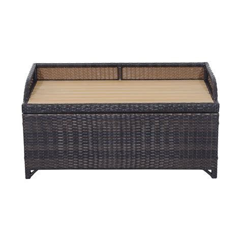 rattan garden bench outsunny rattan storage bench 102lx51wx51h cm mixed brown