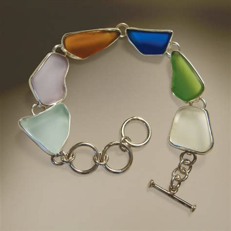 Handmade Jewelry Maine - lobsterman s s maine sea glass bracelet cross