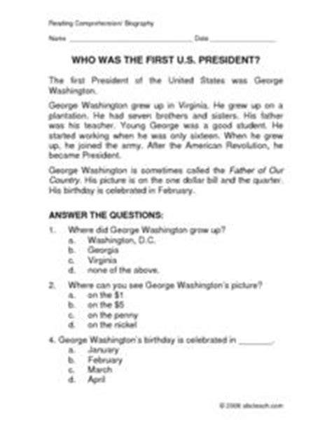 george washington biography for middle school students who was the first us president reading comprehension