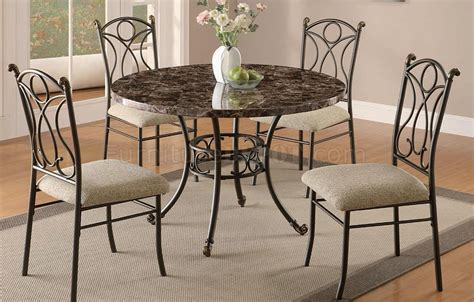 Metal Dining Table Sets Marble Veneer 5pc Modern Dining Table Set W Metal Base