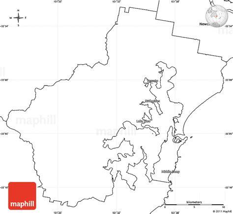 blank simple map  lake macquarie