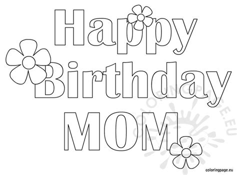 happy birthday mom free coloring page