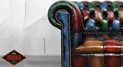 leather couch with buttons chesterfield patchwork queen anne chair harlequin