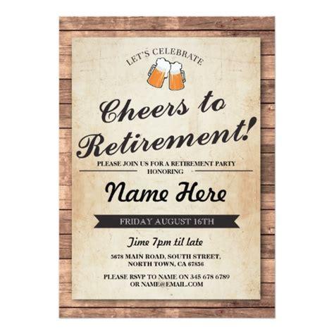 retirement invitation retirement cheers beers wood pub invitation zazzle