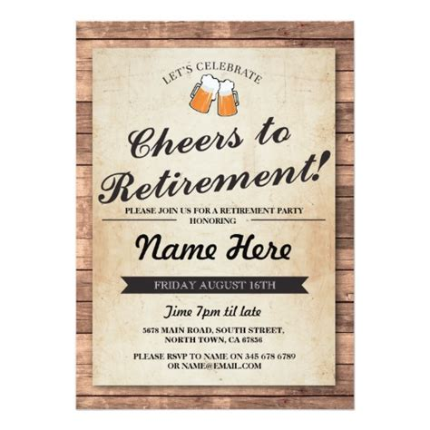 Retirement Invitations Baseball Card Template by Retirement Cheers Beers Wood Pub Invitation Zazzle
