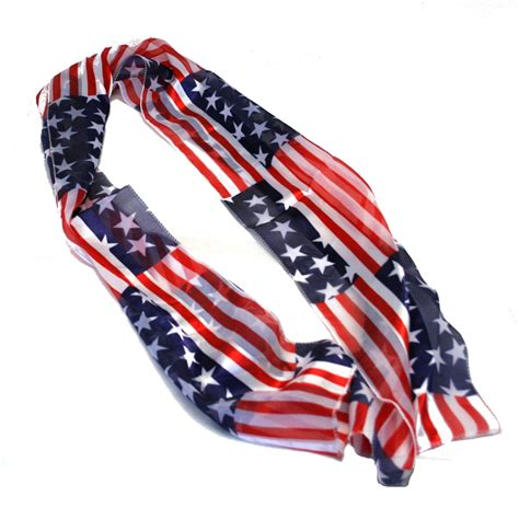 white and blue usa patriotic scarf