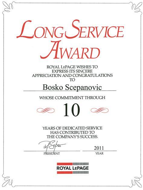 long service award rlp agent bosko