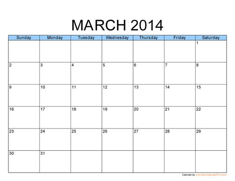 blank 2014 calendar template image gallery march 2014