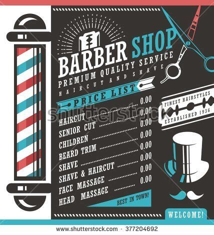 Hair Style Books For Salon 2017 Price by Barber Shop Vector Price List Template Haircut And Shave