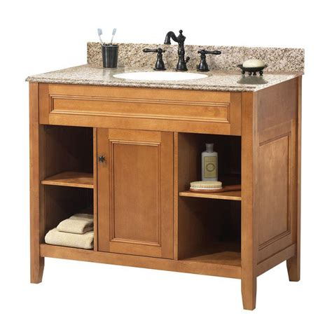 Home Depot Bathroom Vanity Foremost Exhibit 37 In W X 22 In D Bath Vanity In Rich Cinnamon With Granite Vanity Top In