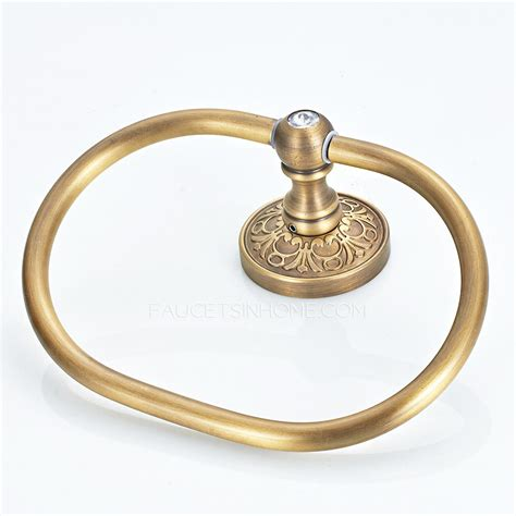antique brass vintage carved chic towel rings for bathroom