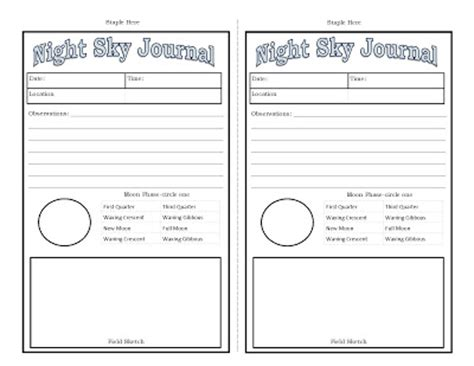 printable moon journal outdoor hour challenge night sky study