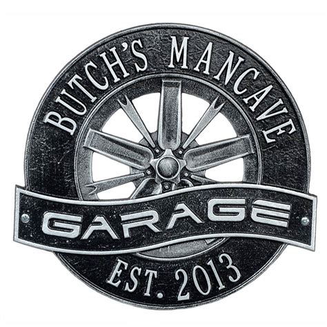 Garage Sign by Personalized Racing Wheel Garage Sign