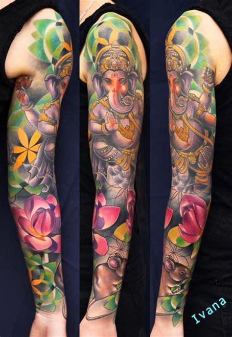 tattoo arm ganesha ganesh lotuses mouse dorotka by ivana tattoo art