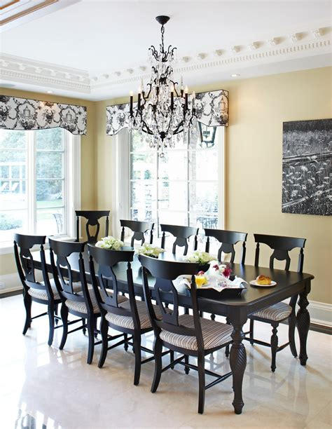 table with 10 chairs for traditional dining room with