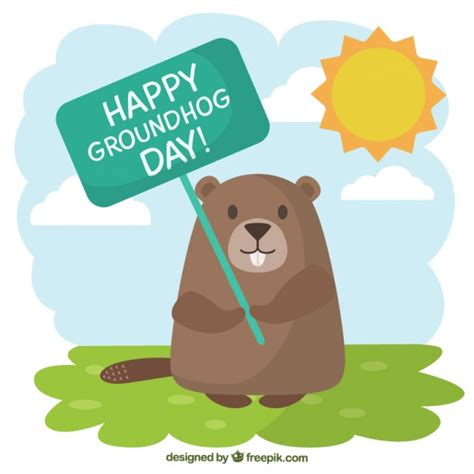 the groundhog day for free groundhog with a greeting poster illustration vector