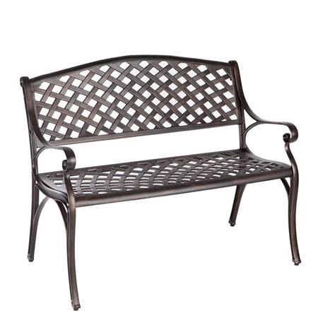 metal porch bench oakland living god bless america cast aluminum patio bench