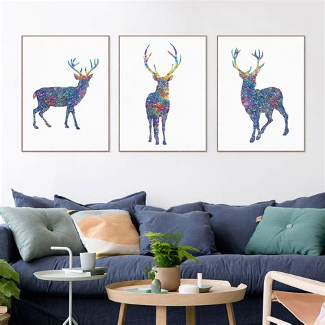 azqsd nordic vintage large art print poster deer head compare prices on black deer pictures online shopping buy