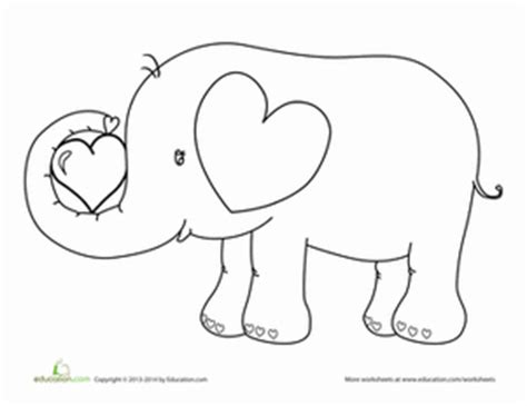 elephant valentine coloring pages valentine s day elephant worksheet education com