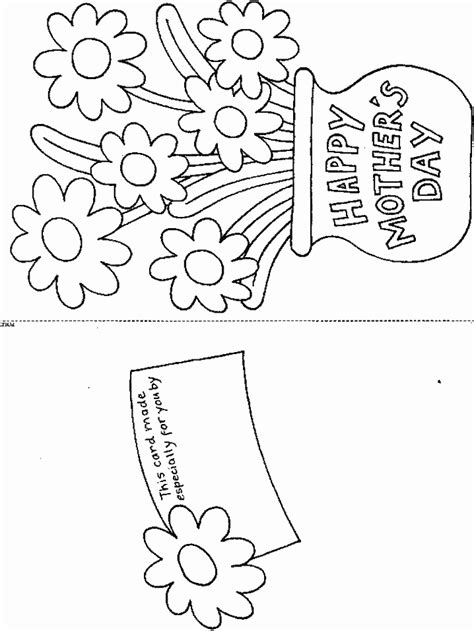 s day flower card template mothers day card flower coloring pages s day