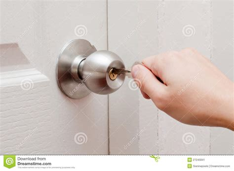 hand opening door by key stock image image of protection 27245841