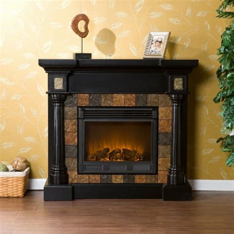 Black Fireplace Surround by New Black Electric Fireplace With Slate Tile Surround For