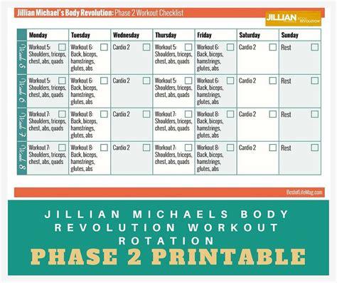 jillian workout rotation printable checklist