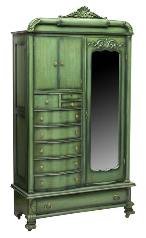 green armoire louis xv style green painted mirrored armoire the crier