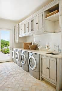 Laundry mud rooms gray washed cabinets gray silver front load