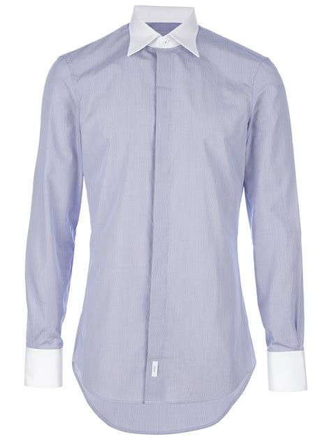 Contrast Collar Shirt dsquared 178 contrast collar shirt in blue for lyst