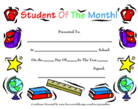 printable student of the month awards school certificates