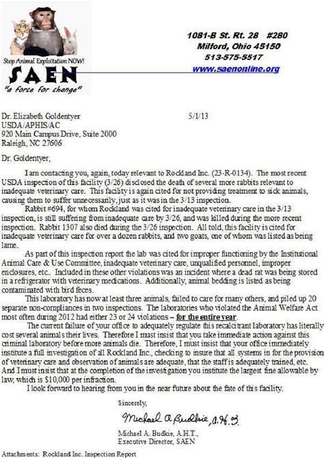 Complaint Letter For Piggery Rockland Inc Gilbertsville Pa Letter Of Complaint To Usda 1 May 2013 Pennsylvania