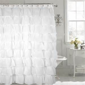 white shabby chic ruffled fabric shower curtain
