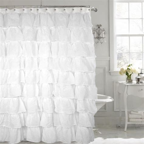 white ruffled shower curtain gypsy white shabby chic ruffled fabric shower curtain