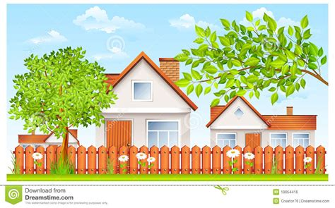 house with fence small house with fence and garden royalty free stock image image 19054416