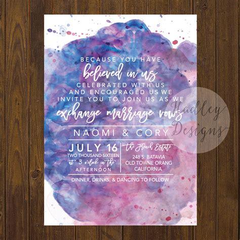 Wedding Invitations Watercolor by Hadley Designs Watercolor